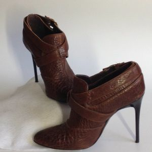 7 For All Mankind Brown Leather Stiletto Booties